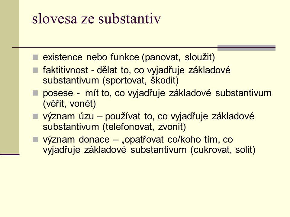 slovesa ze substantiv existence nebo funkce (panovat, sloužit) faktitivnost - dělat to, co vyjadřuje základové substantivum (sportovat, škodit) posese