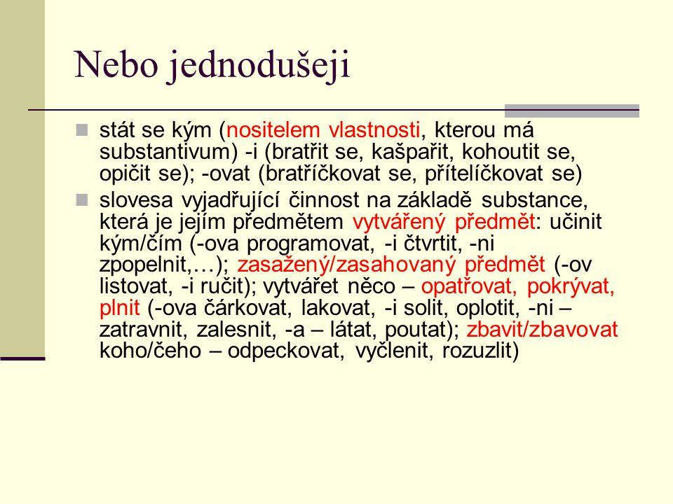 modifikace druhu slovesného děje (Aktionsart) – příponové modifikace slovesa zdrobnělá (deminutiva) – -it-a (cupitat), -k-a (capkat), -ink-a (spinkat), -ičk-a (ťapičkat), -in-ink-a (hajininkat) slovesa úsilná (intenziva) –t-a (breptat, jektat), -et-a (třepetat), -ot-a (mihotat se), -t-ě (chraptět), -t-i (soptit), -on-i (žebronit)