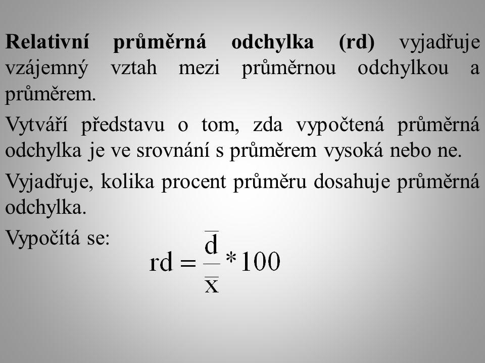 Relativní průměrná odchylka (rd) vyjadřuje vzájemný vztah mezi průměrnou odchylkou a průměrem. Vytváří představu o tom, zda vypočtená průměrná odchylk