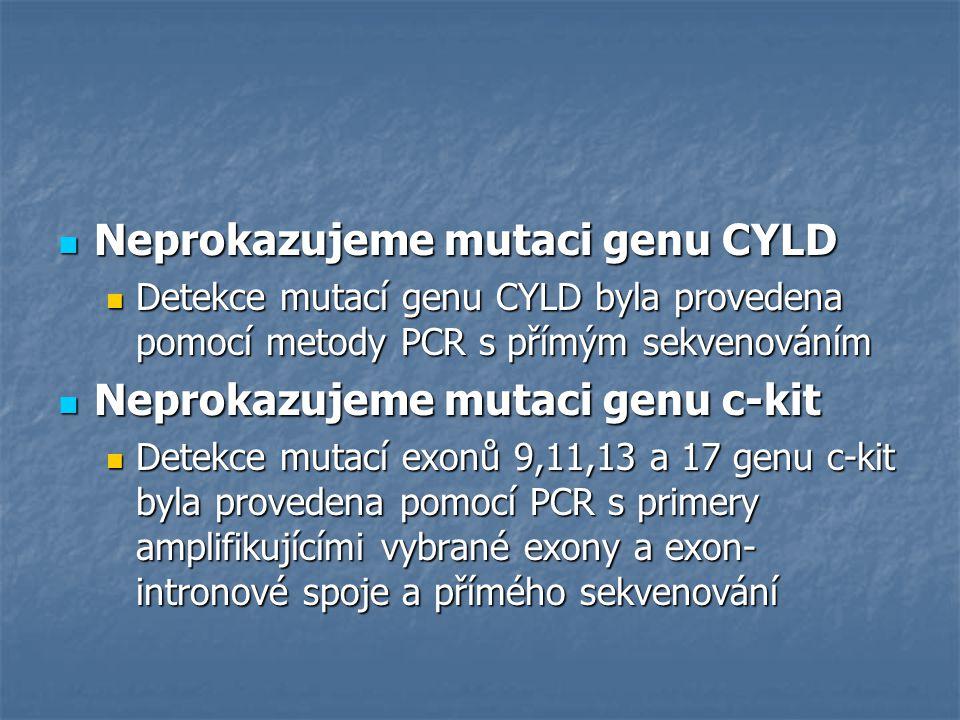 Neprokazujeme mutaci genu CYLD Neprokazujeme mutaci genu CYLD Detekce mutací genu CYLD byla provedena pomocí metody PCR s přímým sekvenováním Detekce