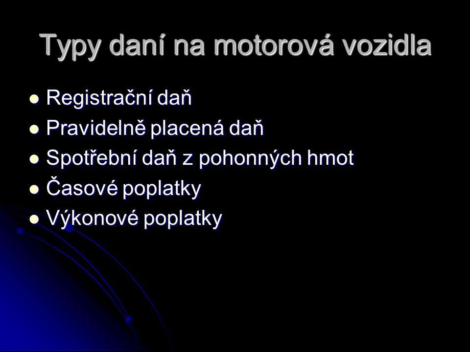 Silniční daň Zákon č.16/1993 Sb., o dani silniční, ve znění pozdějších předpisů Zákon č.