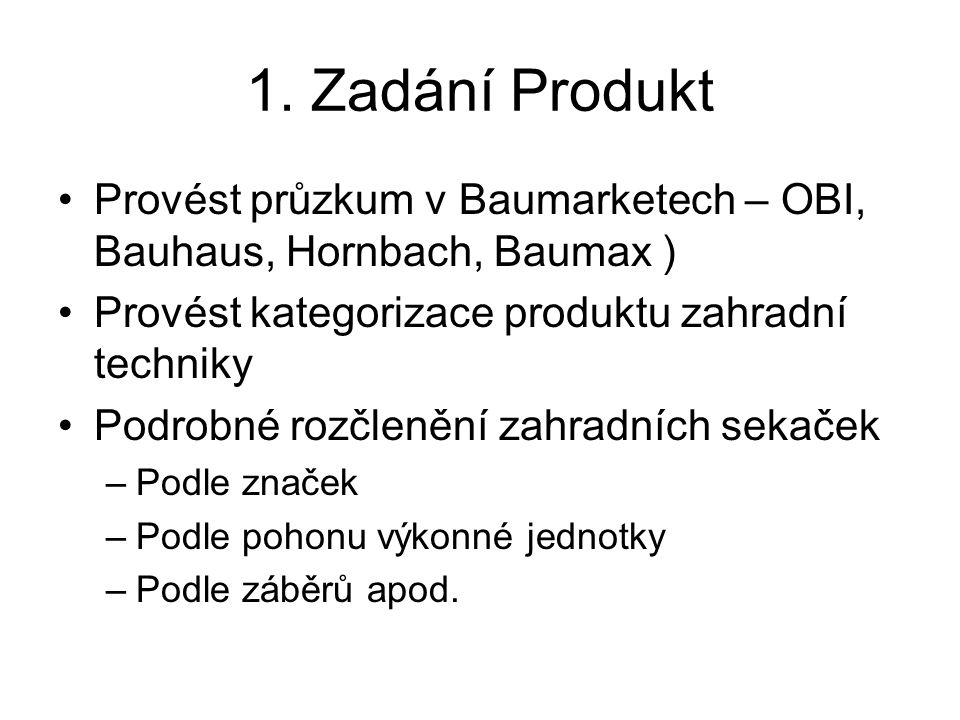 1. Zadání Produkt Provést průzkum v Baumarketech – OBI, Bauhaus, Hornbach, Baumax ) Provést kategorizace produktu zahradní techniky Podrobné rozčleněn