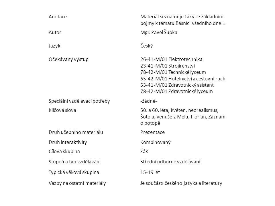 AnotaceMateriál seznamuje žáky se základními pojmy k tématu Básníci všedního dne 1 AutorMgr.