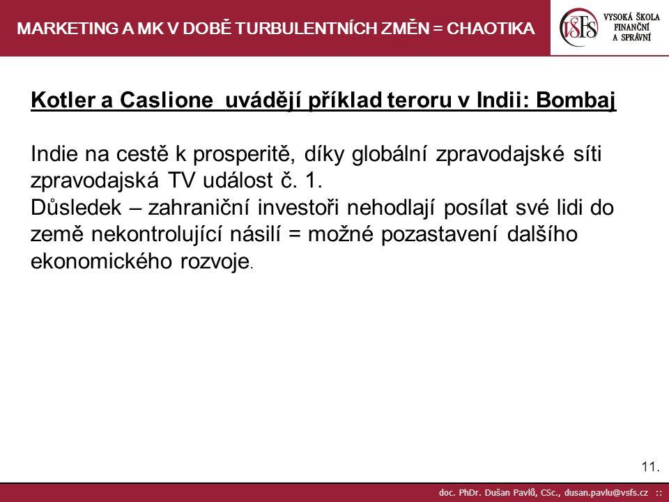 11. doc. PhDr. Dušan Pavlů, CSc., dusan.pavlu@vsfs.cz :: MARKETING A MK V DOBĚ TURBULENTNÍCH ZMĚN = CHAOTIKA Kotler a Caslione uvádějí příklad teroru
