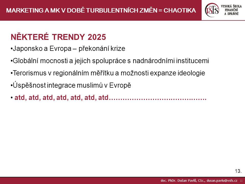 13. doc. PhDr. Dušan Pavlů, CSc., dusan.pavlu@vsfs.cz :: MARKETING A MK V DOBĚ TURBULENTNÍCH ZMĚN = CHAOTIKA NĚKTERÉ TRENDY 2025 Japonsko a Evropa – p