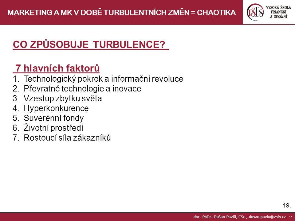 19. doc. PhDr. Dušan Pavlů, CSc., dusan.pavlu@vsfs.cz :: MARKETING A MK V DOBĚ TURBULENTNÍCH ZMĚN = CHAOTIKA CO ZPŮSOBUJE TURBULENCE? 7 hlavních fakto