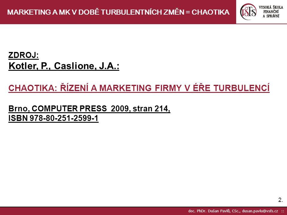 2.2. doc. PhDr. Dušan Pavlů, CSc., dusan.pavlu@vsfs.cz :: MARKETING A MK V DOBĚ TURBULENTNÍCH ZMĚN = CHAOTIKA ZDROJ: Kotler, P., Caslione, J.A.: CHAOT