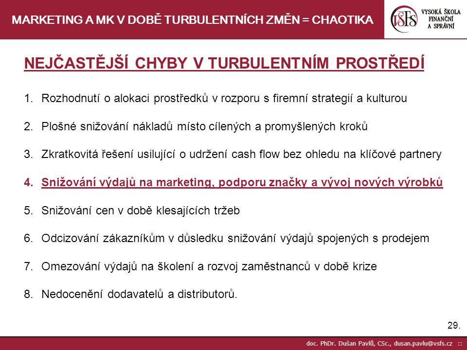 29. doc. PhDr. Dušan Pavlů, CSc., dusan.pavlu@vsfs.cz :: MARKETING A MK V DOBĚ TURBULENTNÍCH ZMĚN = CHAOTIKA NEJČASTĚJŠÍ CHYBY V TURBULENTNÍM PROSTŘED