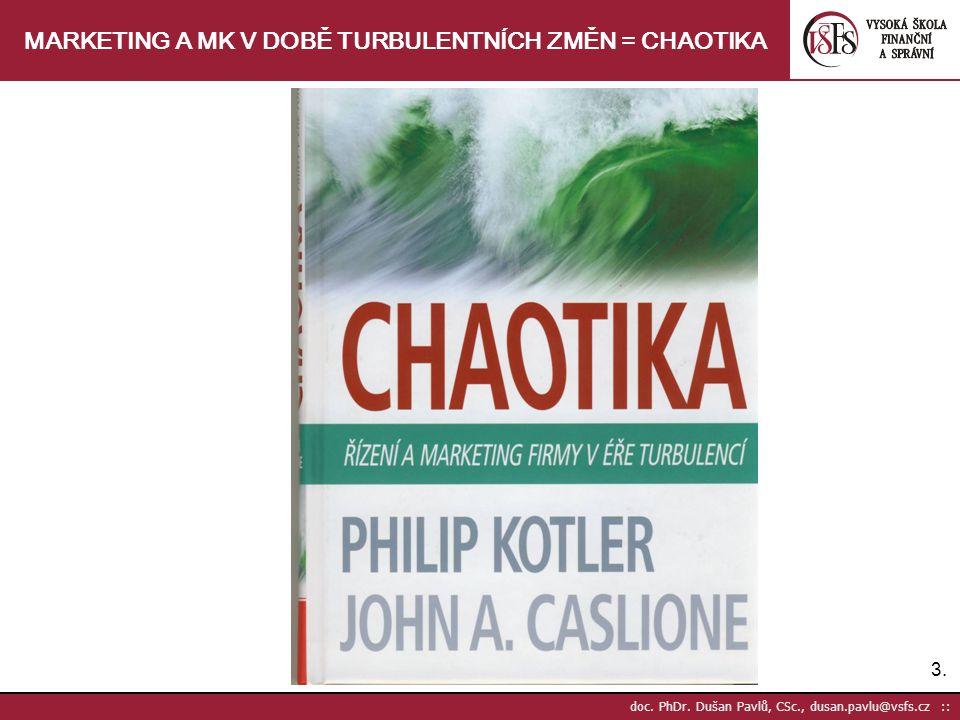 3.3. doc. PhDr. Dušan Pavlů, CSc., dusan.pavlu@vsfs.cz :: MARKETING A MK V DOBĚ TURBULENTNÍCH ZMĚN = CHAOTIKA