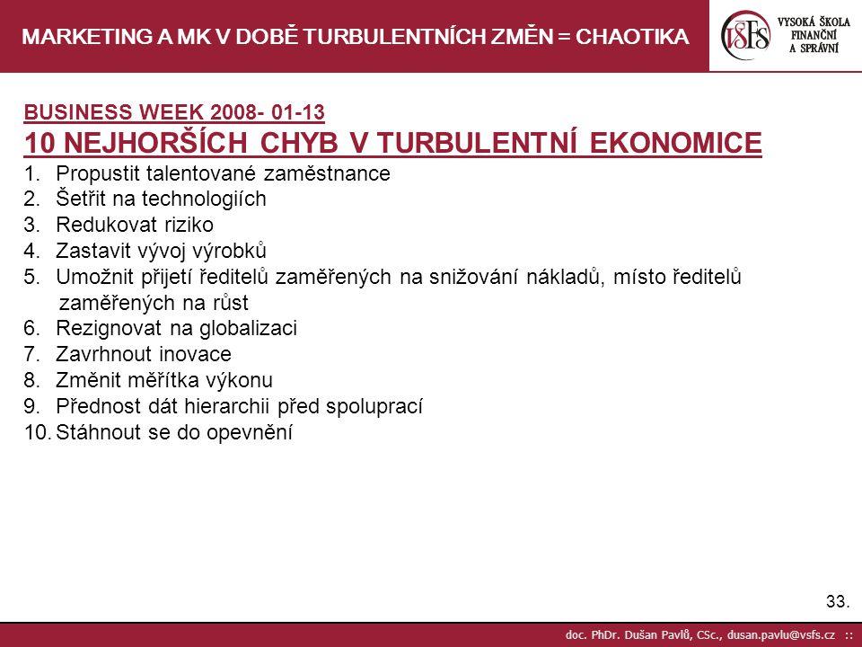 33. doc. PhDr. Dušan Pavlů, CSc., dusan.pavlu@vsfs.cz :: MARKETING A MK V DOBĚ TURBULENTNÍCH ZMĚN = CHAOTIKA BUSINESS WEEK 2008- 01-13 10 NEJHORŠÍCH C