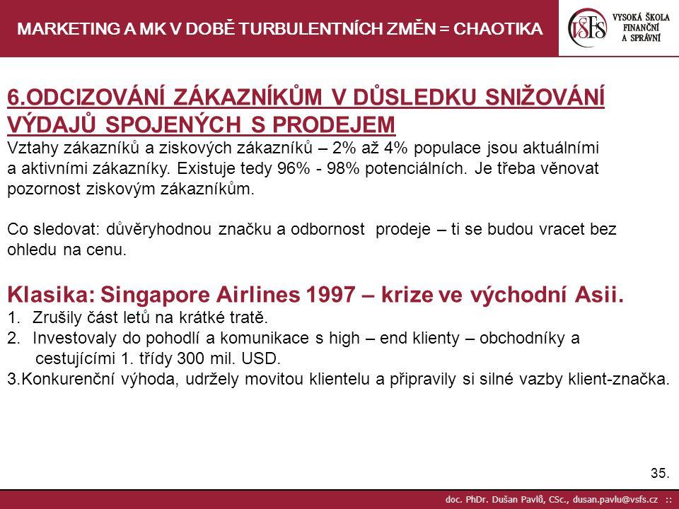 35. doc. PhDr. Dušan Pavlů, CSc., dusan.pavlu@vsfs.cz :: MARKETING A MK V DOBĚ TURBULENTNÍCH ZMĚN = CHAOTIKA 6.ODCIZOVÁNÍ ZÁKAZNÍKŮM V DŮSLEDKU SNIŽOV