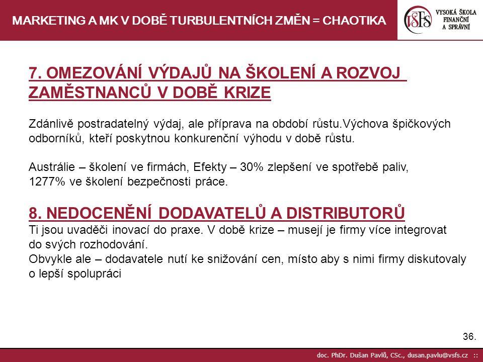 36. doc. PhDr. Dušan Pavlů, CSc., dusan.pavlu@vsfs.cz :: MARKETING A MK V DOBĚ TURBULENTNÍCH ZMĚN = CHAOTIKA 7. OMEZOVÁNÍ VÝDAJŮ NA ŠKOLENÍ A ROZVOJ Z
