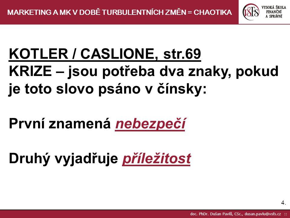 4.4. doc. PhDr. Dušan Pavlů, CSc., dusan.pavlu@vsfs.cz :: MARKETING A MK V DOBĚ TURBULENTNÍCH ZMĚN = CHAOTIKA KOTLER / CASLIONE, str.69 KRIZE – jsou p