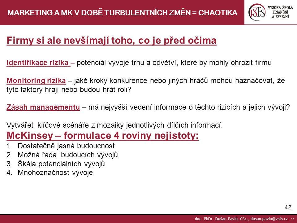 42. doc. PhDr. Dušan Pavlů, CSc., dusan.pavlu@vsfs.cz :: MARKETING A MK V DOBĚ TURBULENTNÍCH ZMĚN = CHAOTIKA Firmy si ale nevšímají toho, co je před o