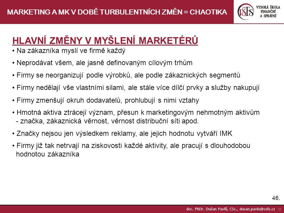 46. doc. PhDr. Dušan Pavlů, CSc., dusan.pavlu@vsfs.cz :: MARKETING A MK V DOBĚ TURBULENTNÍCH ZMĚN = CHAOTIKA HLAVNÍ ZMĚNY V MYŠLENÍ MARKETÉRŮ Na zákaz