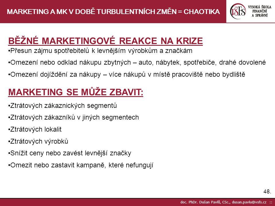 48. doc. PhDr. Dušan Pavlů, CSc., dusan.pavlu@vsfs.cz :: MARKETING A MK V DOBĚ TURBULENTNÍCH ZMĚN = CHAOTIKA BĚŽNÉ MARKETINGOVÉ REAKCE NA KRIZE Přesun
