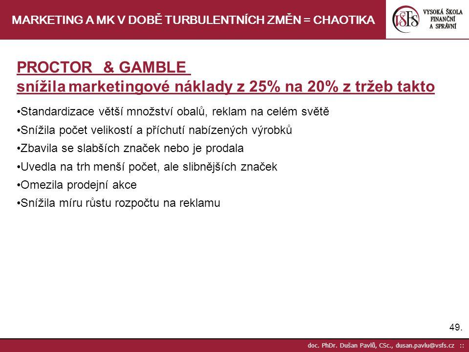 49. doc. PhDr. Dušan Pavlů, CSc., dusan.pavlu@vsfs.cz :: MARKETING A MK V DOBĚ TURBULENTNÍCH ZMĚN = CHAOTIKA PROCTOR & GAMBLE snížila marketingové nák