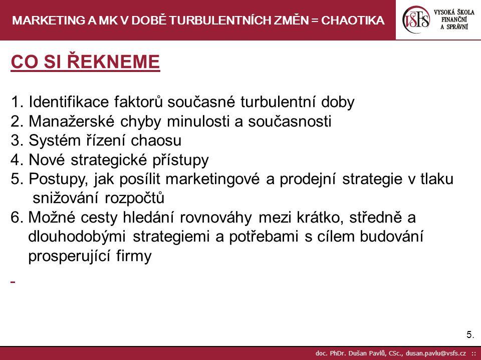 5.5. doc. PhDr. Dušan Pavlů, CSc., dusan.pavlu@vsfs.cz :: MARKETING A MK V DOBĚ TURBULENTNÍCH ZMĚN = CHAOTIKA CO SI ŘEKNEME 1.Identifikace faktorů sou
