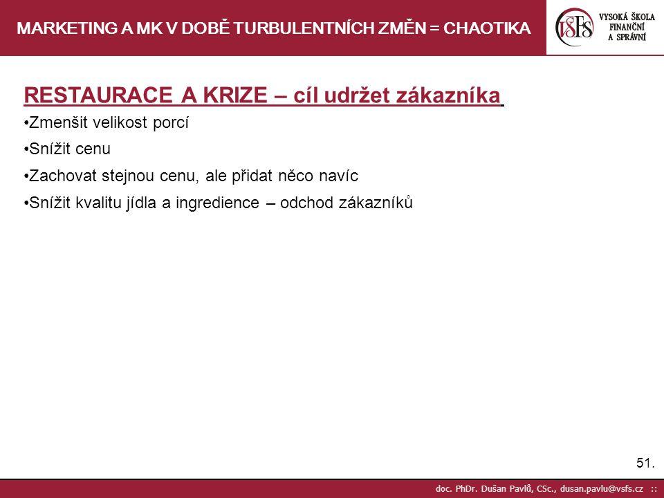 51. doc. PhDr. Dušan Pavlů, CSc., dusan.pavlu@vsfs.cz :: MARKETING A MK V DOBĚ TURBULENTNÍCH ZMĚN = CHAOTIKA RESTAURACE A KRIZE – cíl udržet zákazníka