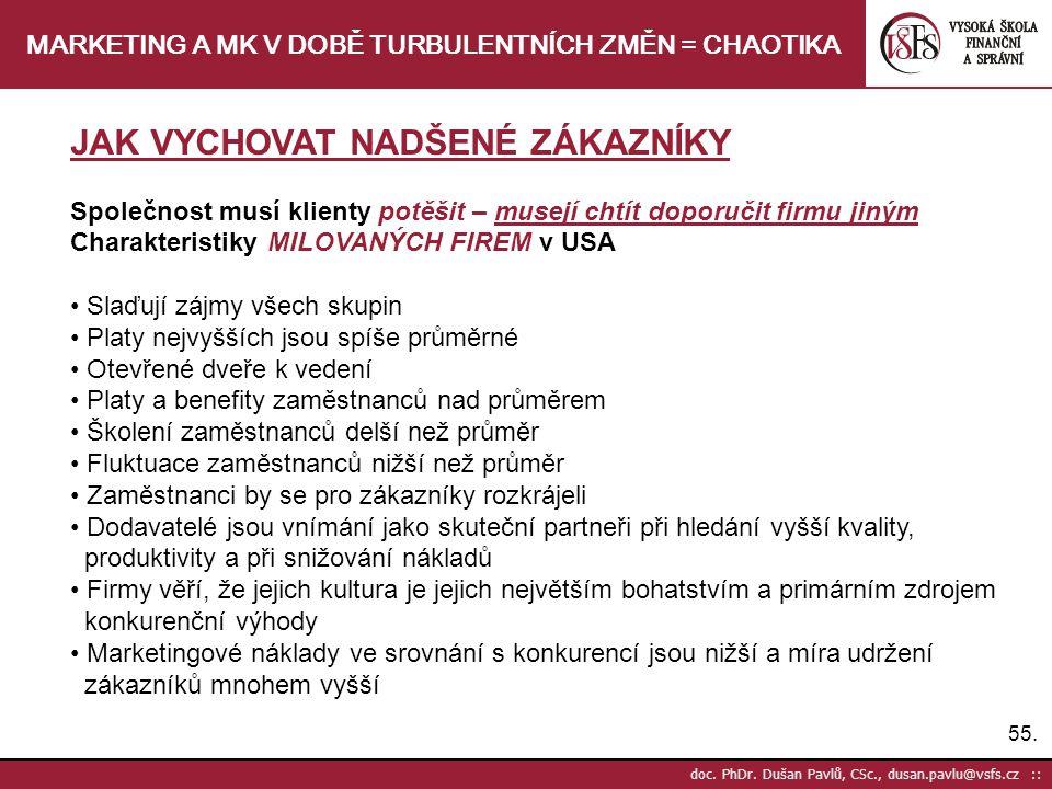 55. doc. PhDr. Dušan Pavlů, CSc., dusan.pavlu@vsfs.cz :: MARKETING A MK V DOBĚ TURBULENTNÍCH ZMĚN = CHAOTIKA JAK VYCHOVAT NADŠENÉ ZÁKAZNÍKY Společnost