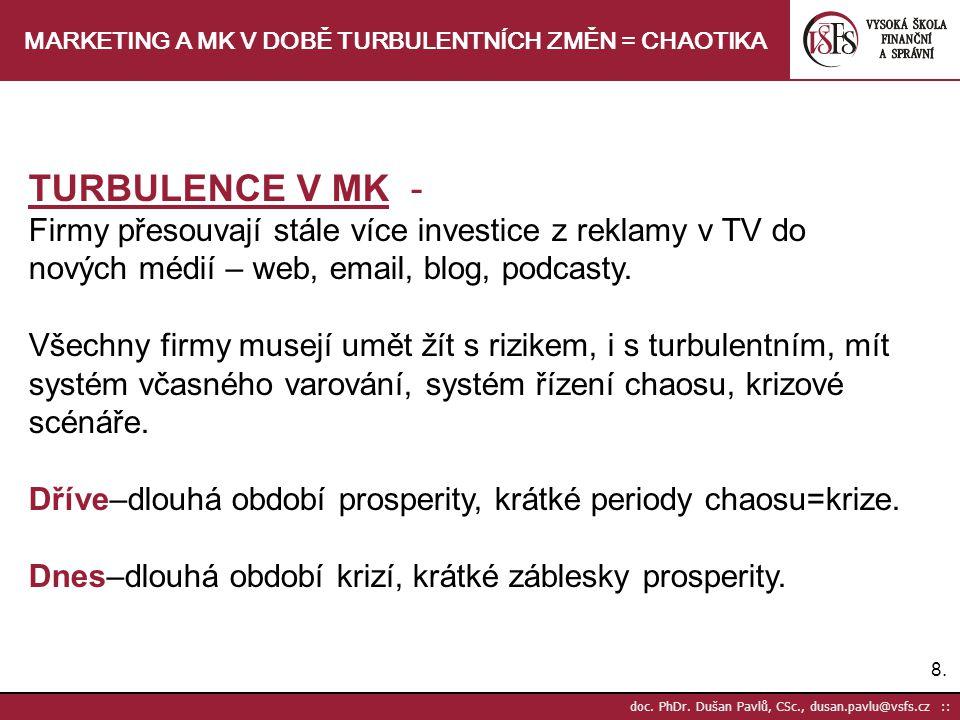 8.8. doc. PhDr. Dušan Pavlů, CSc., dusan.pavlu@vsfs.cz :: MARKETING A MK V DOBĚ TURBULENTNÍCH ZMĚN = CHAOTIKA TURBULENCE V MK - Firmy přesouvají stále