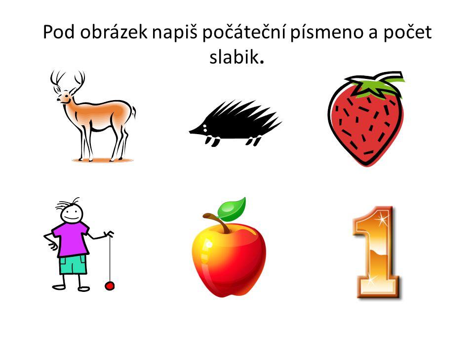 Pod obrázek napiš počáteční písmeno a počet slabik.
