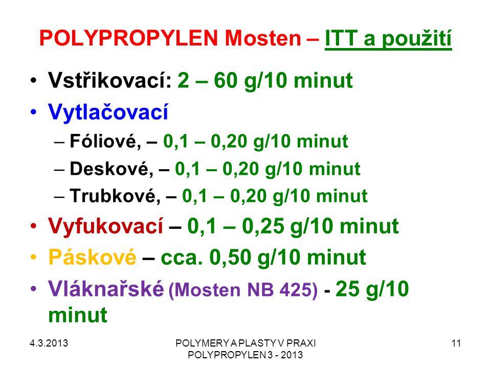 POLYPROPYLEN Mosten – ITT a použití Vstřikovací: 2 – 60 g/10 minut Vytlačovací –Fóliové, – 0,1 – 0,20 g/10 minut –Deskové, – 0,1 – 0,20 g/10 minut –Tr