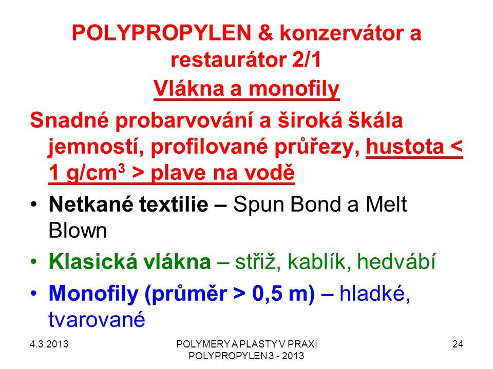 POLYPROPYLEN & konzervátor a restaurátor 2/1 4.3.2013POLYMERY A PLASTY V PRAXI POLYPROPYLEN 3 - 2013 24 Vlákna a monofily Snadné probarvování a široká