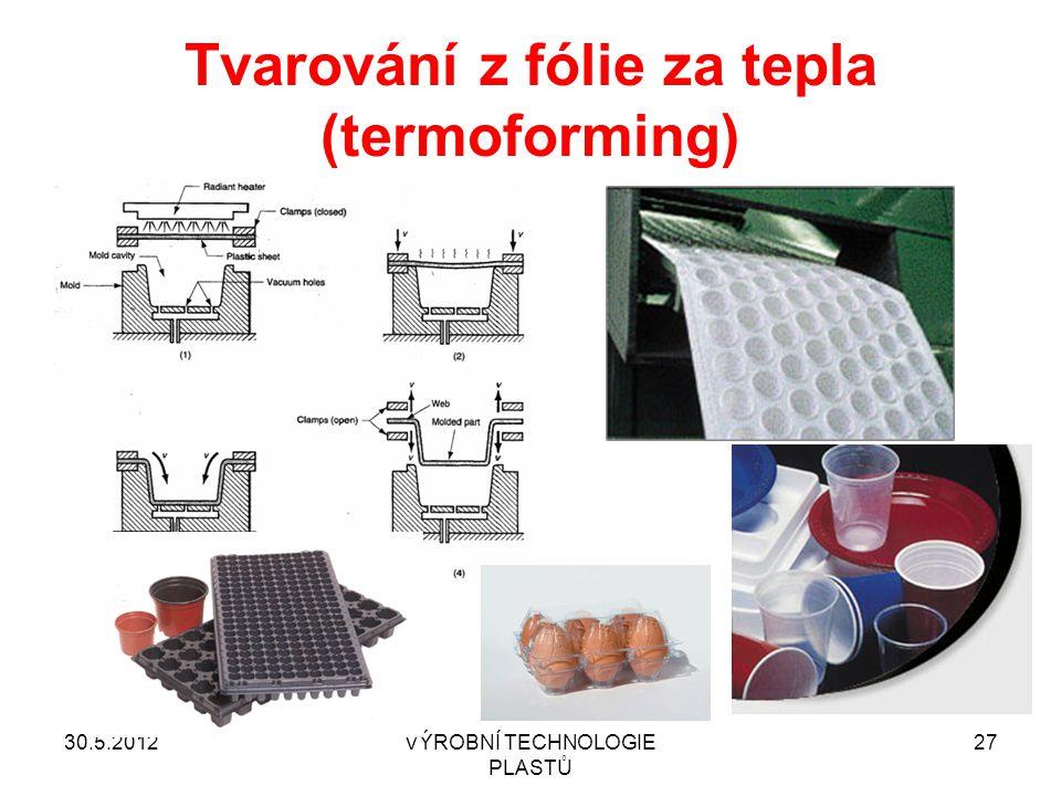 30.5.2012VÝROBNÍ TECHNOLOGIE PLASTŮ 27 Tvarování z fólie za tepla (termoforming)