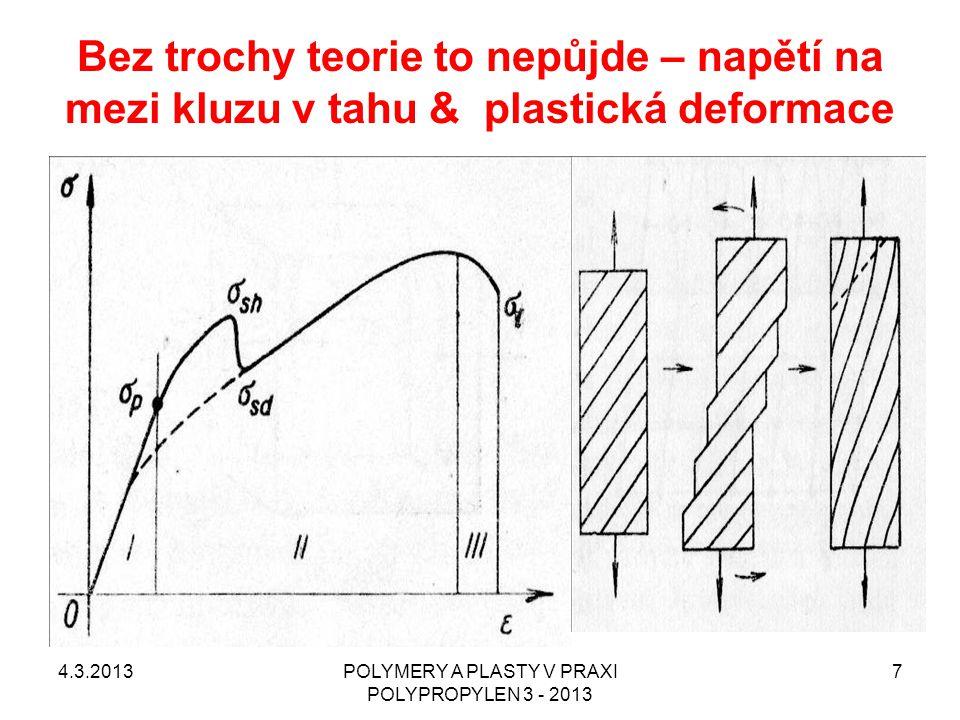 Když začneme hledat na Internetu www.unipetrol.czwww.unipetrol.cz 4.3.2013POLYMERY A PLASTY V PRAXI POLYPROPYLEN 3 - 2013 8 Polypropylen Mosten GB 002 je víceúčelový homopolymer se základní aditivací vhodný pro vstřikování, pro výrobu tkacích pásků, provazů a motouzů, pro výrobu fólií s následným tvarováním a pro vyfukování dutých obalů.
