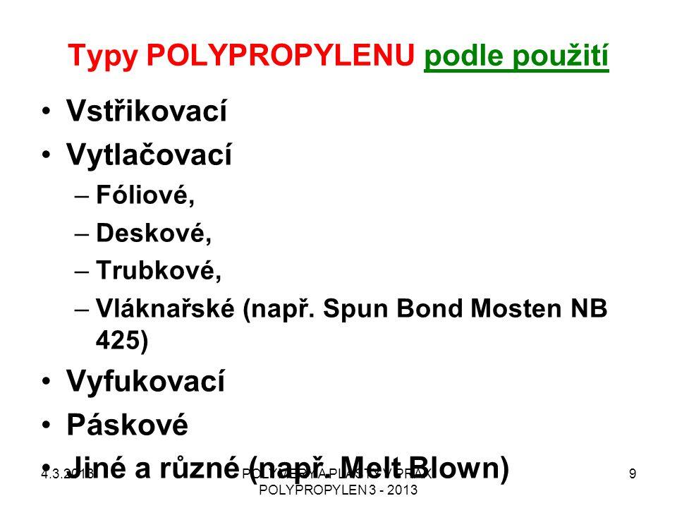 Typy POLYPROPYLENU podle použití Vstřikovací Vytlačovací –Fóliové, –Deskové, –Trubkové, –Vláknařské (např. Spun Bond Mosten NB 425) Vyfukovací Páskové