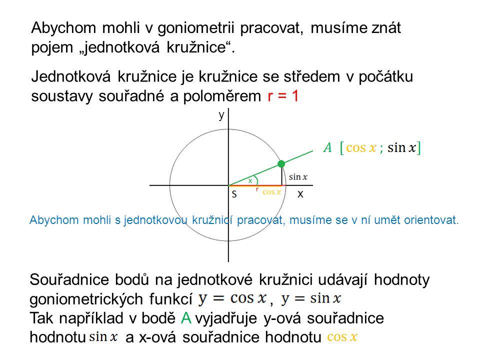 """Abychom mohli v goniometrii pracovat, musíme znát pojem """"jednotková kružnice"""". Jednotková kružnice je kružnice se středem v počátku soustavy souřadné"""