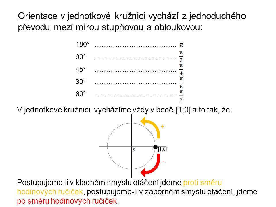 Orientace v jednotkové kružnici vychází z jednoduchého převodu mezi mírou stupňovou a obloukovou: 180°……………………………... 90°……………………………... 45°…………………………….