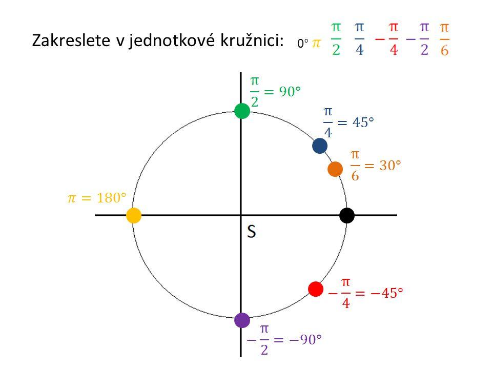 Zakreslete v jednotkové kružnici: 0°