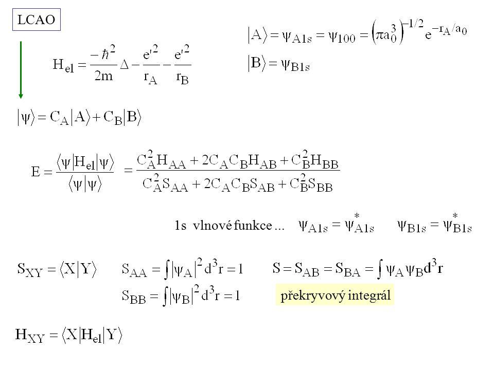 minimalizace energie vůči C A, C B E 1s EAEA ESES vazebná hladina antivazebná hladina * 1s