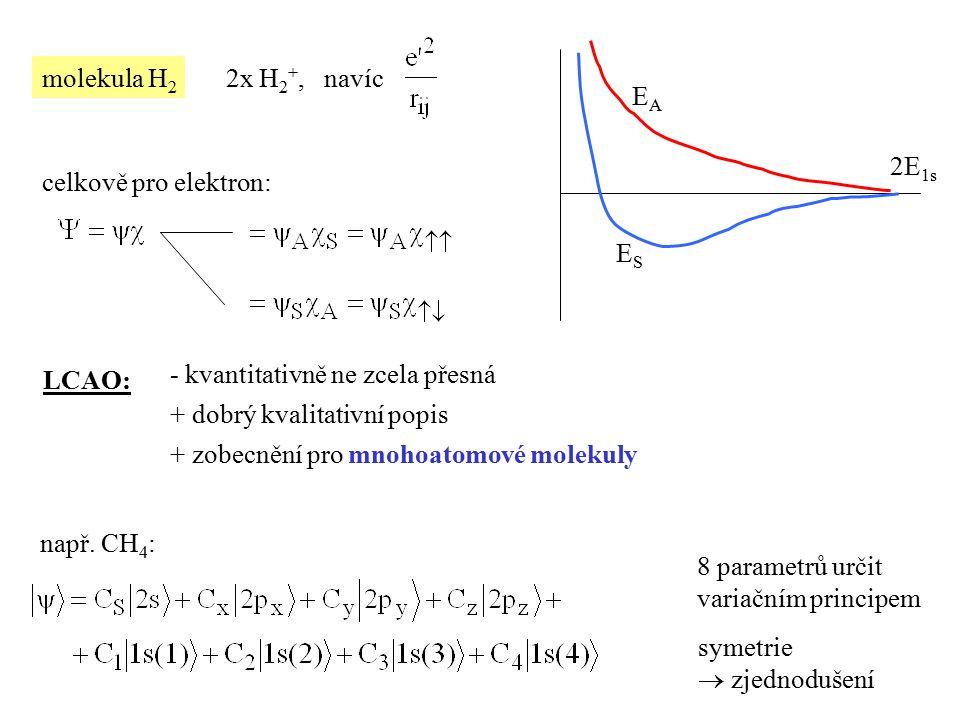 molekula H 2 2x H 2 +, navíc 2E 1s EAEA ESES celkově pro elektron: LCAO: - kvantitativně ne zcela přesná + dobrý kvalitativní popis + zobecnění pro mn
