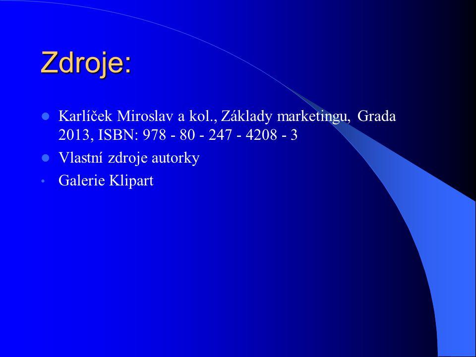Zdroje: Karlíček Miroslav a kol., Základy marketingu, Grada 2013, ISBN: 978 - 80 - 247 - 4208 - 3 Vlastní zdroje autorky Galerie Klipart