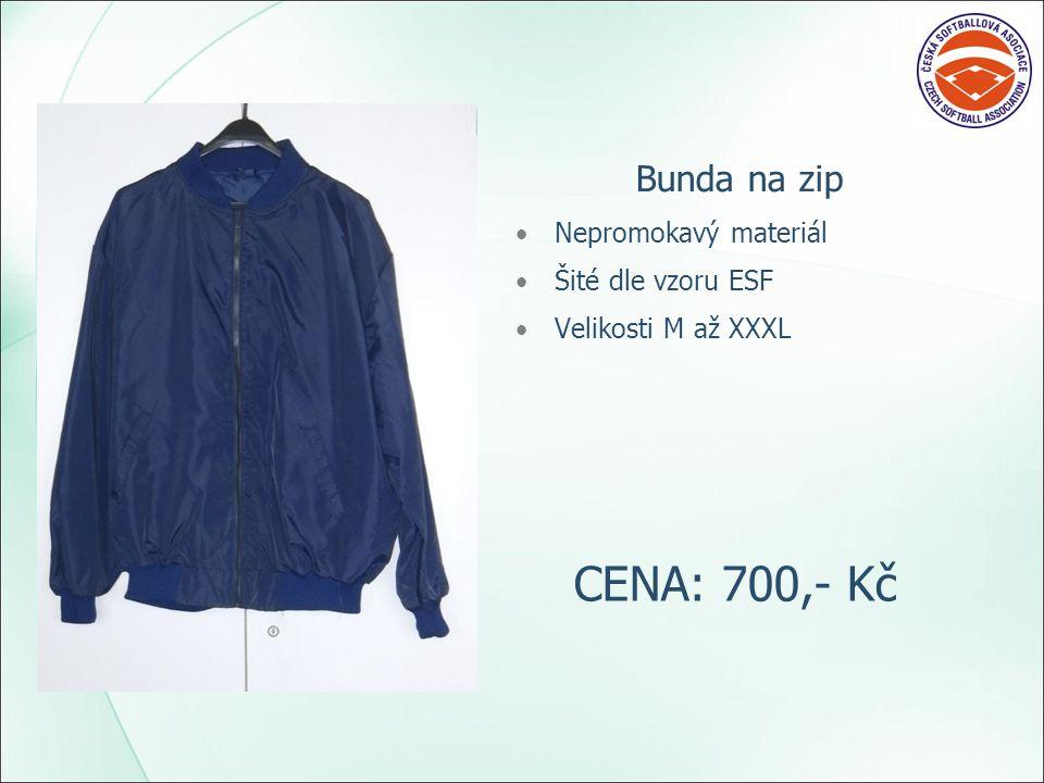 Bunda na zip Nepromokavý materiál Šité dle vzoru ESF Velikosti M až XXXL CENA: 700,- Kč