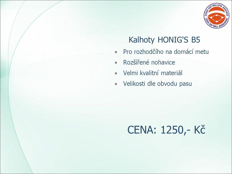 Kalhoty HONIG S B5 Pro rozhodčího na domácí metu Rozšířené nohavice Velmi kvalitní materiál Velikosti dle obvodu pasu CENA: 1250,- Kč