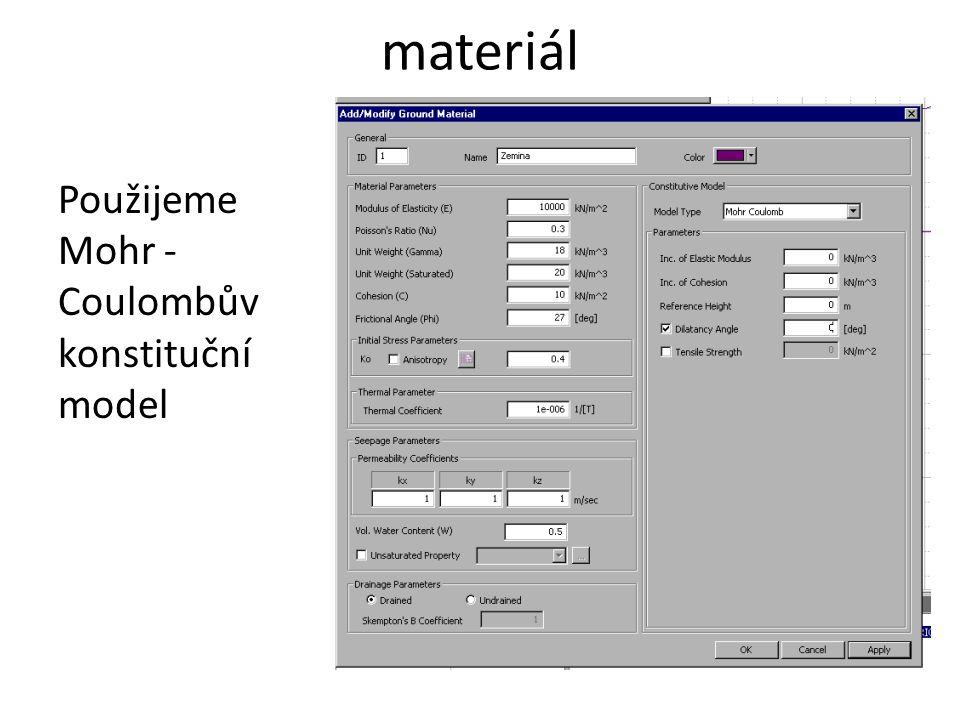 materiál Použijeme Mohr - Coulombův konstituční model