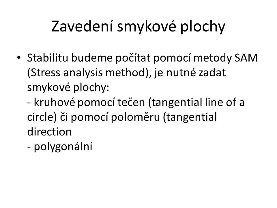 Zavedení smykové plochy Stabilitu budeme počítat pomocí metody SAM (Stress analysis method), je nutné zadat smykové plochy: - kruhové pomocí tečen (ta