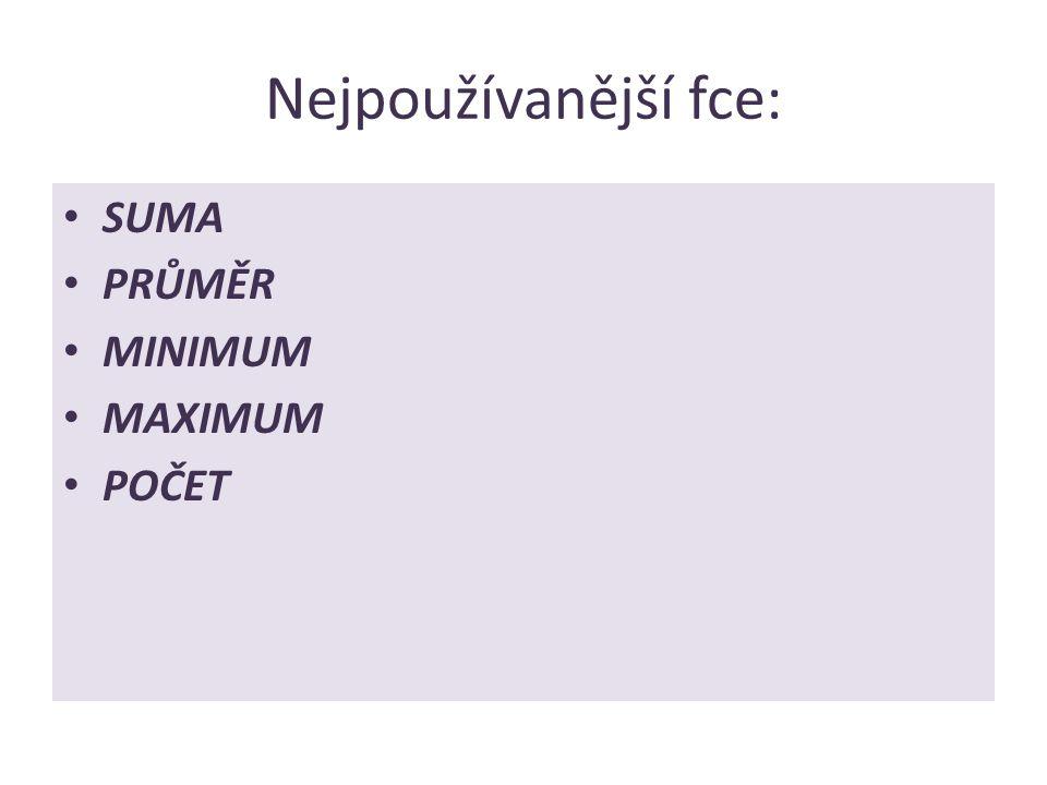 Nejpoužívanější fce: SUMA PRŮMĚR MINIMUM MAXIMUM POČET