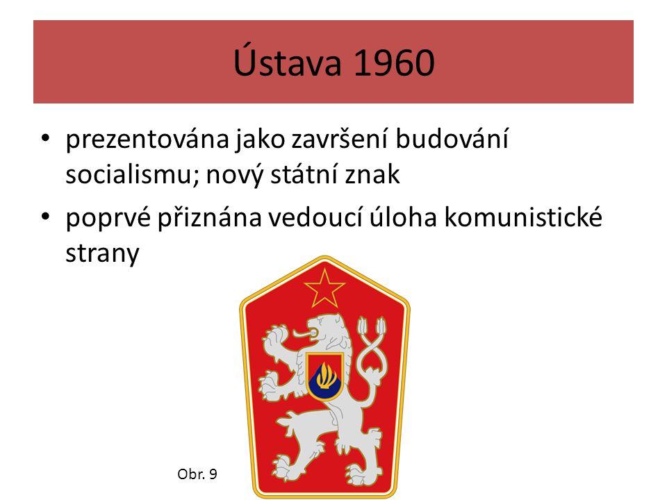 Ústava 1960 prezentována jako završení budování socialismu; nový státní znak poprvé přiznána vedoucí úloha komunistické strany Obr. 9
