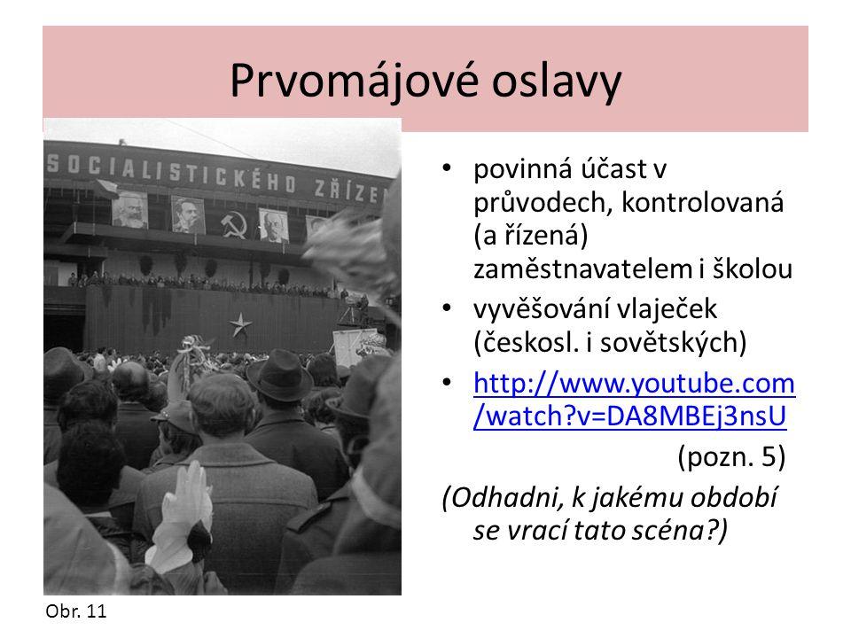 Prvomájové oslavy povinná účast v průvodech, kontrolovaná (a řízená) zaměstnavatelem i školou vyvěšování vlaječek (českosl. i sovětských) http://www.y