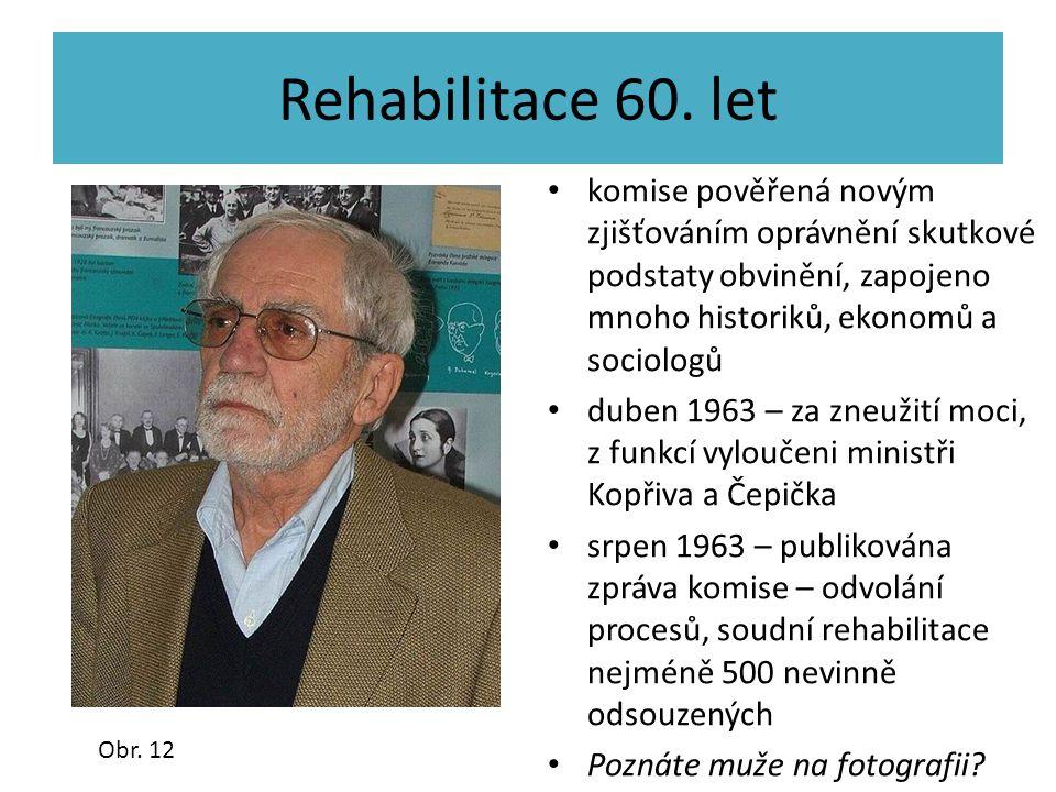 Rehabilitace 60. let komise pověřená novým zjišťováním oprávnění skutkové podstaty obvinění, zapojeno mnoho historiků, ekonomů a sociologů duben 1963