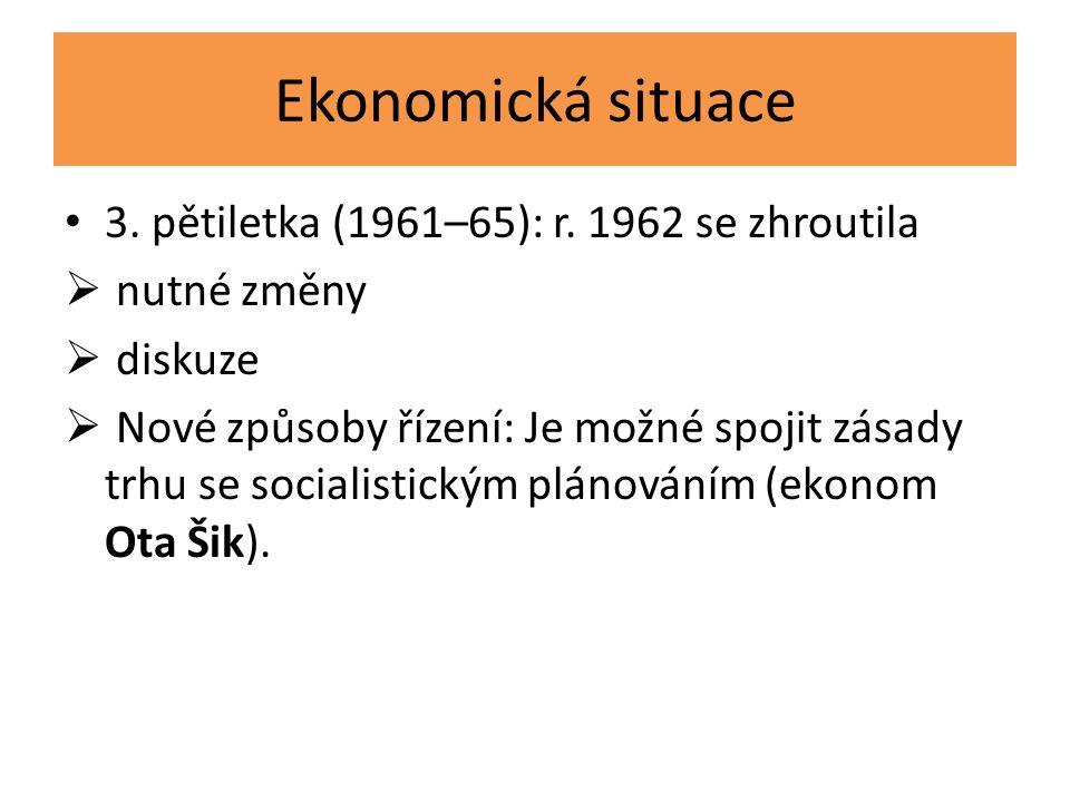 Ekonomická situace 3. pětiletka (1961–65): r. 1962 se zhroutila  nutné změny  diskuze  Nové způsoby řízení: Je možné spojit zásady trhu se socialis