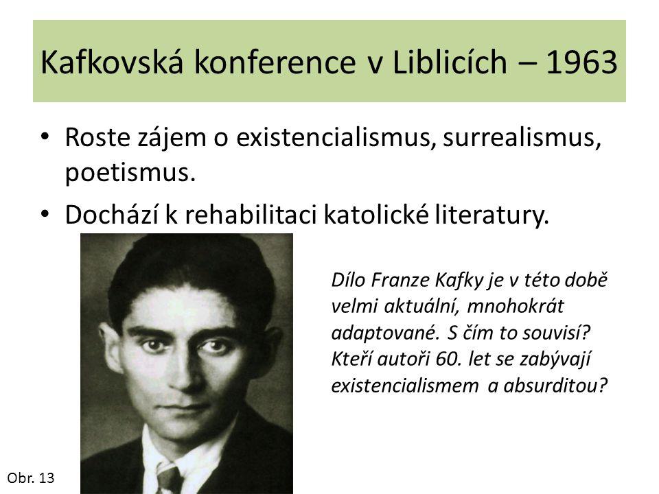 Kafkovská konference v Liblicích – 1963 Roste zájem o existencialismus, surrealismus, poetismus. Dochází k rehabilitaci katolické literatury. Obr. 13