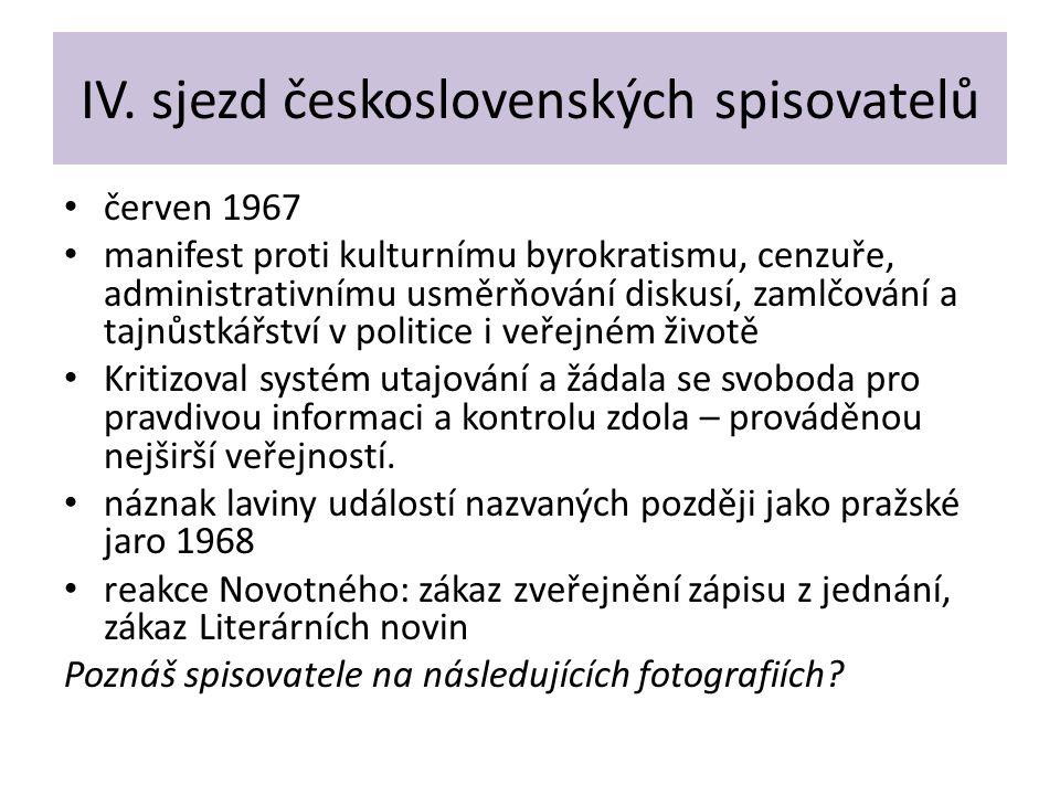 IV. sjezd československých spisovatelů červen 1967 manifest proti kulturnímu byrokratismu, cenzuře, administrativnímu usměrňování diskusí, zamlčování