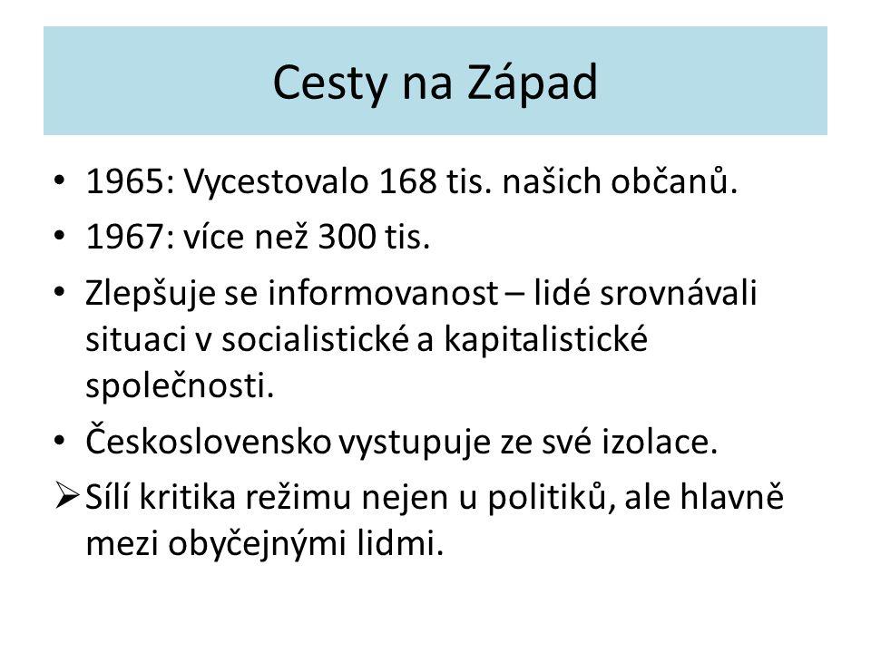 Cesty na Západ 1965: Vycestovalo 168 tis. našich občanů. 1967: více než 300 tis. Zlepšuje se informovanost – lidé srovnávali situaci v socialistické a