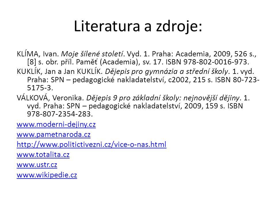 Literatura a zdroje: KLÍMA, Ivan. Moje šílené století. Vyd. 1. Praha: Academia, 2009, 526 s., [8] s. obr. příl. Paměť (Academia), sv. 17. ISBN 978-802